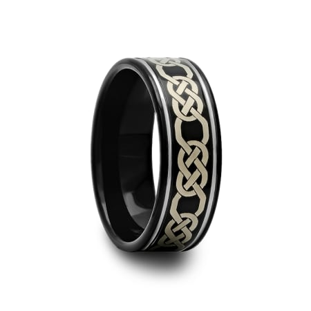 Celtic Pattern Black Tungsten Carbide Wedding Band 8 mm