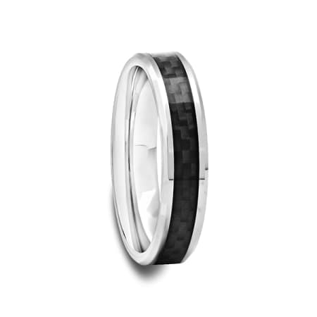 Tungsten Carbide Ring with Black Carbon Fiber 4 mm