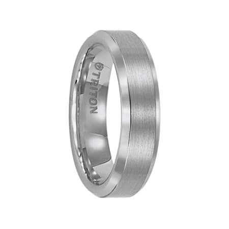 Triton Ring 6mm Bevel Edge White Tungsten Carbide comfort fit Band with center satin finish and bright polished edge