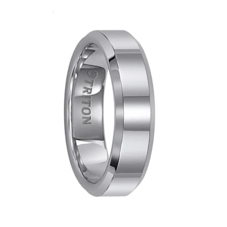 Triton Ring 6mm Tungsten Carbide Bright Polished Bevel Edge Comfort Fit Band