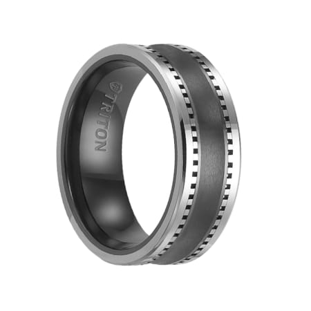 Triton Ring 8mm Brush Finished Concave Center Black Ceramic Ring with Machined Tungsten Carbide Edges