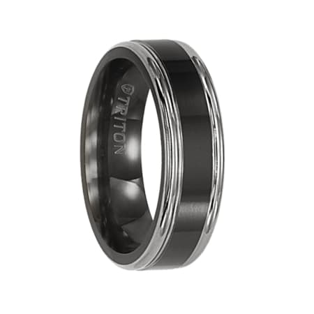 Triton Ring 6.5mm Flat Comfort Fit Black Titanium Band with Step edge