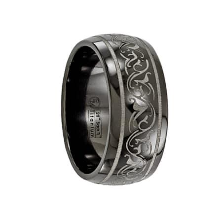 Edward Mirell Ring 10mm Black Titanium Domed Laser Patterned Wedding Band