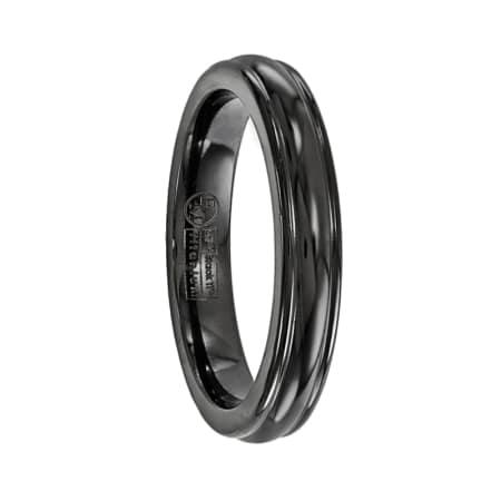 Edward Mirell Ring 4mm Black Titanium Triple Domed Band