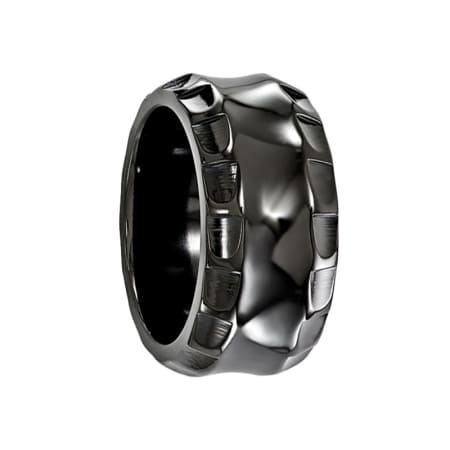 Edward Mirell Ring 12mm Black Ring Titanium Ring with Faceted Edges