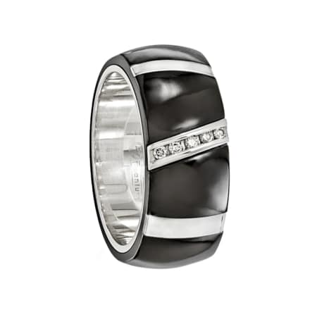 Edward Mirell Ring 10mm Black Titanium Ring with Sterling Silver Inlay & .10Ct Diamonds