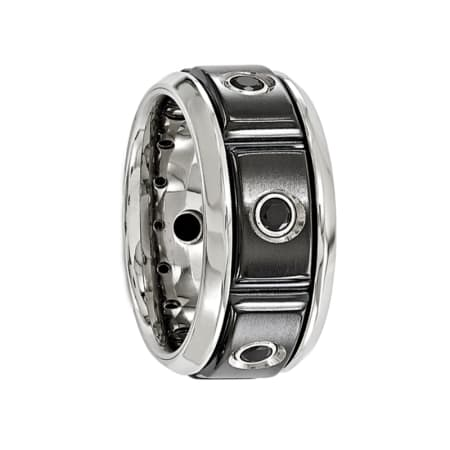 Edward Mirell Ring 11mm Black Titanium Ring with a Black Spinel Setting and Polished Edges