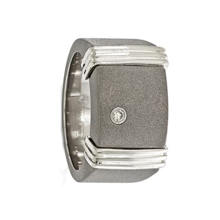 Edward Mirell Ring 12mm Titanium Ring & Sterling Silver .06Ct Diamond Signet Ring