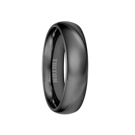 Triton Ring 6mm Black Tungsten Carbide Domed Bright Polished Comfort Fit Band