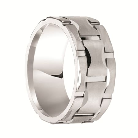 Triton Ring 10mm White Tungsten Matrix Comfort Fit Band with Satin Finish and Bright Cuts