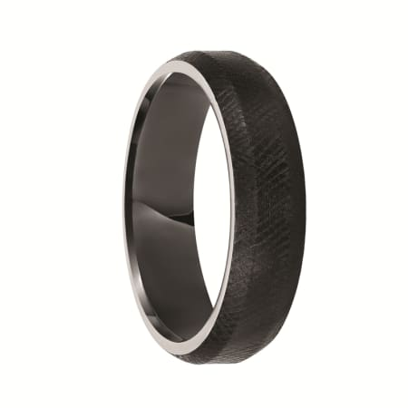 Triton Ring 6mm Black Tungsten Soft Bevel Edge Comfort Fit Band with Floretine Finish