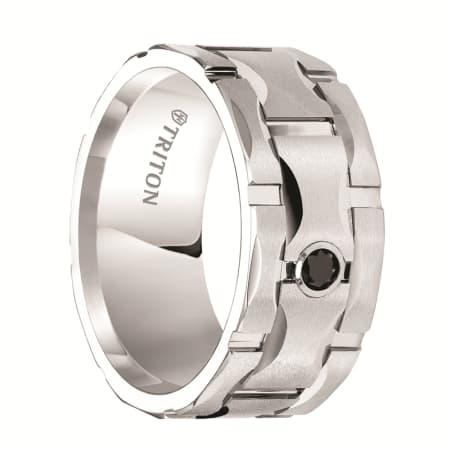 Triton Ring 10mm White Tungsten Matrix Comfort Fit Black Diamond Band with Satin Finish and Bright Cuts
