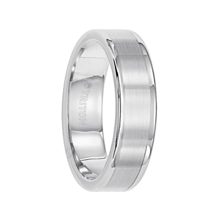 Triton Ring 6mm Tungsten Carbide Satin Finish Flat Center with Bright Polish Round Edges Comfort Fit Wedding Band