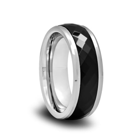 Polished Spinner Ring with Black Ceramic Diamond Facets and Beveled Edges