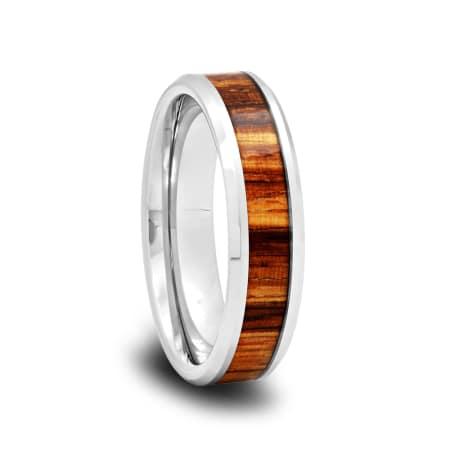 Tungsten Wedding Band with Zebra Wood Inlay and Polished Beveled Edges