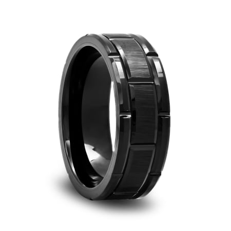 Black Tungsten Wedding Band with a Brushed Center and Alternating Grooves