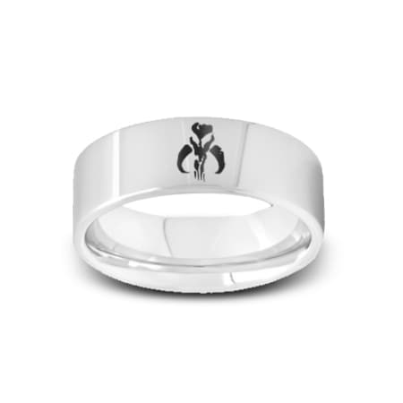 SW-004 - Polished Pipe Cut Tungsten Ring with Star Wars Mandalorian Symbol