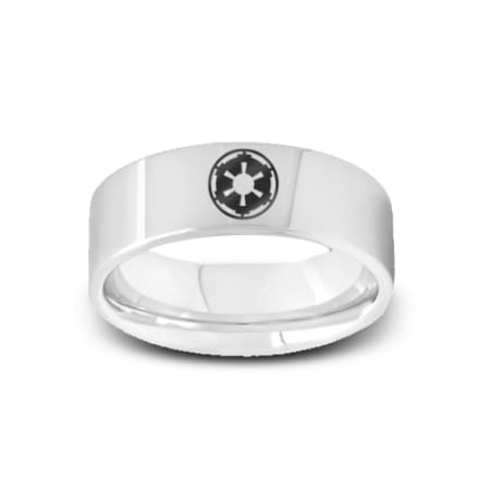 SW-003 - Polished Pipe Cut Tungsten Ring with Star Wars Sith Imperial  Emblem Symbol