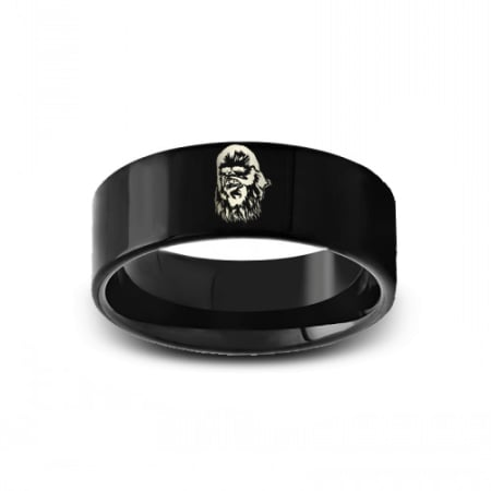 SWB-006 - Polished Pipe Cut Black Tungsten Ring with Star Wars Chewbacca
