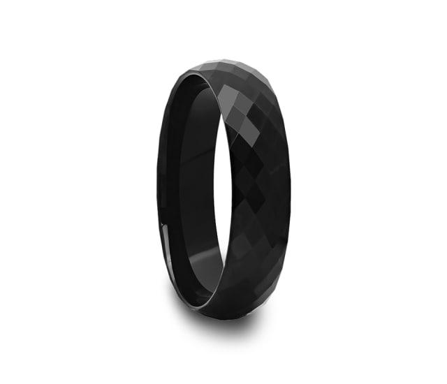 Multi Diamond Faceted Black Tungsten Carbide Ring 4 Mm