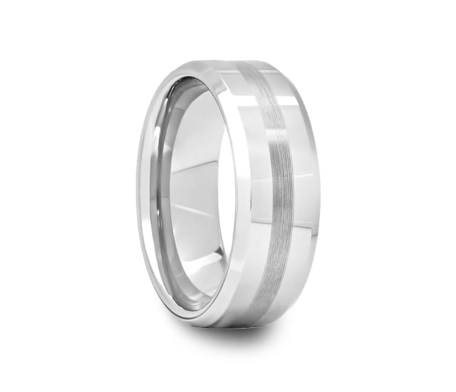 Mens Beveled Edge Tungsten Ring With Satin Stripe