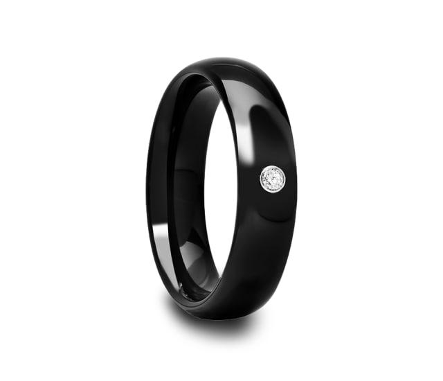 Domed Black Ceramic Ring Cz 6 Mm Eternal Tungsten
