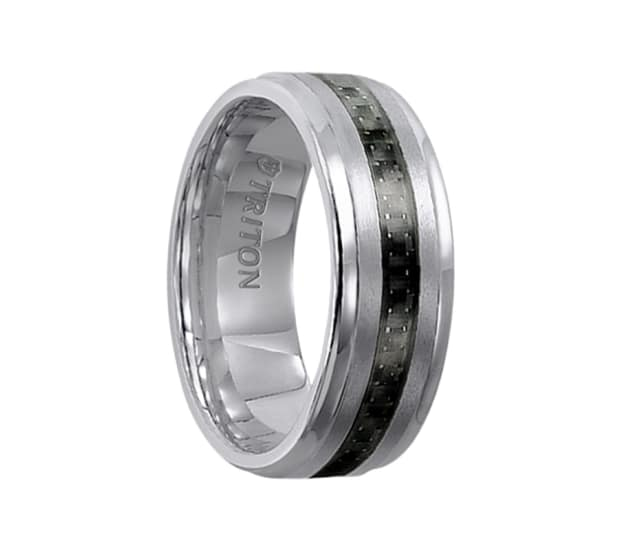 Triton Wedding Band Tungsten Carbide Black Ceramic 8mm: Triton Ring 8mm Tungsten Carbide Step Edge Comfort Fit