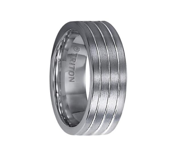 Triton Wedding Band Tungsten Carbide Black Ceramic 8mm: Triton Ring 8mm Tungsten Carbide Comfort Fit Band With