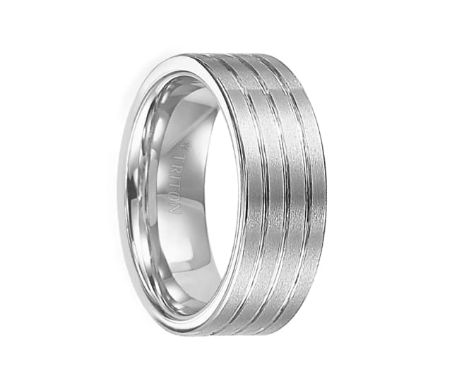 Triton Ring 8mm Flat Pipe Cut White Tungsten Carbide