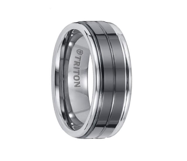Triton Wedding Band Tungsten Carbide Black Ceramic 8mm: Triton Ring 8mm Tungsten Carbide Bright Polished Comfort