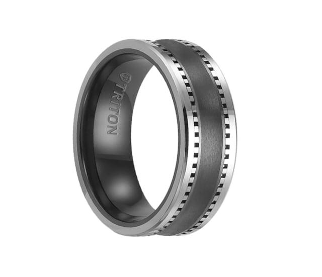 Triton Wedding Band Tungsten Carbide Black Ceramic 8mm: Triton Ring 8mm Brush Finished Concave Center Black