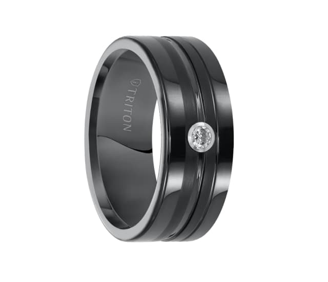 Triton Wedding Band Tungsten Carbide Black Ceramic 8mm: Triton Ring 8mm Flat Black Tungsten Carbide Comfort Fit