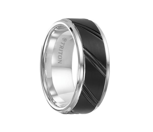 Triton Ring 9mm Black And White Tungsten Carbide Beveled