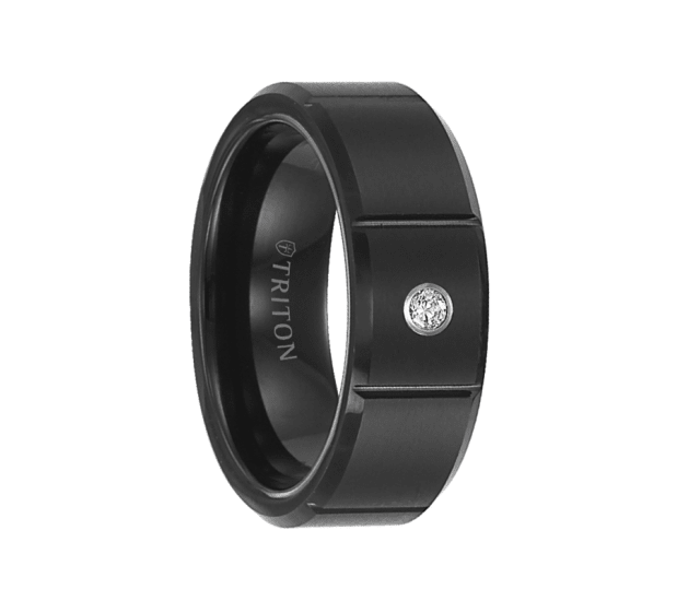 Triton Wedding Band Tungsten Carbide Black Ceramic 8mm: Triton Ring 8mm Black Tungsten Carbide Bevel Edge Satin