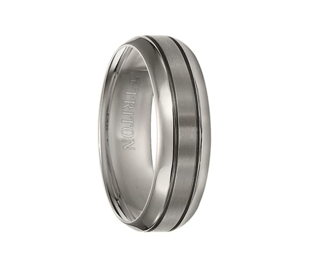 Triton Wedding Band Titanium 7mm: Triton Ring 7mm Titanium Comfort Fit Band With Satin
