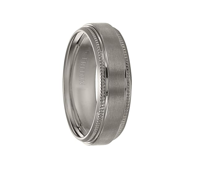 Triton Wedding Band Titanium 7mm: Triton Ring 7mm Titanium Satin Finish Step Edge Comfort