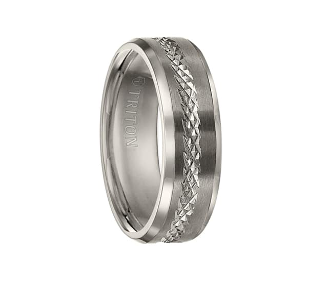 Triton Wedding Band Titanium 7mm: Triton Ring 7mm Titanium Flat Brush Finish Bright Polished