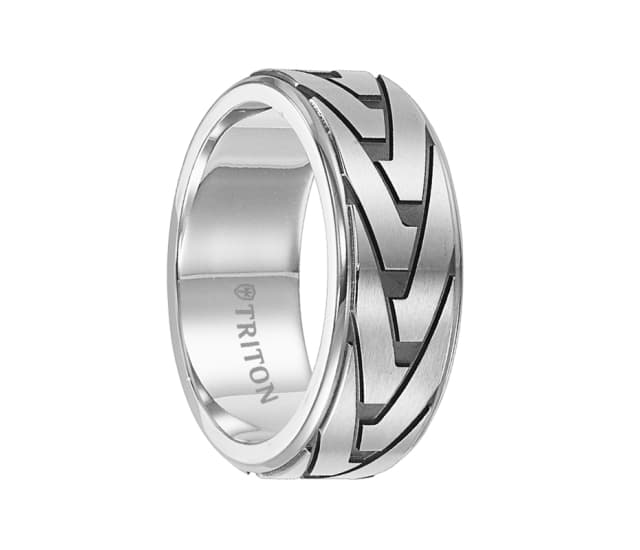 Triton Ring 8 5mm Stainless Steel Step Edge Band With