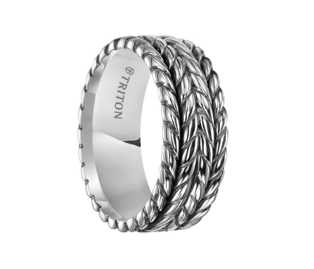 Triton Ring 9mm Sterling Silver Cast Multi Rope Comfort