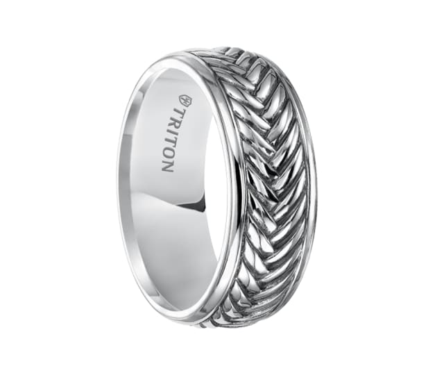 Triton Ring 7mm Sterling Silver Cast Woven Comfort Fit