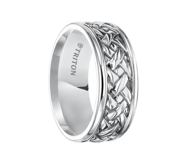 Triton Ring 9mm Sterling Silver Cast Woven Comfort Fit
