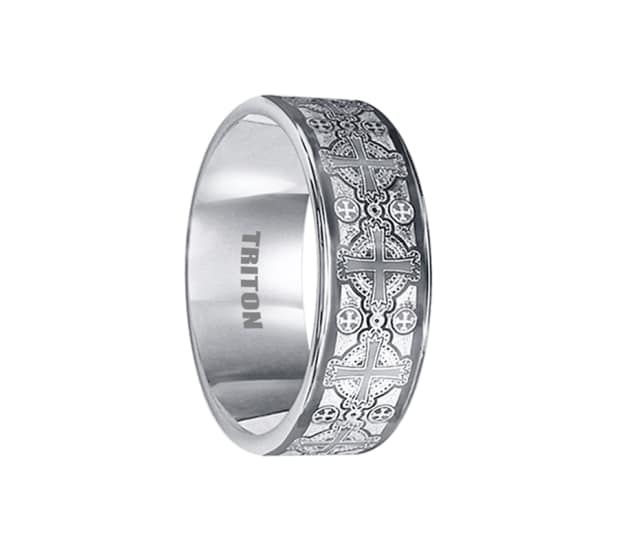 Triton Ring 8mm Tungsten Carbide With Cross Laser Pattern