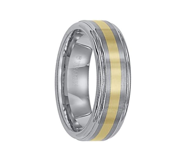 Triton Ring 7mm Raised Brushed Center Tungsten Carbide