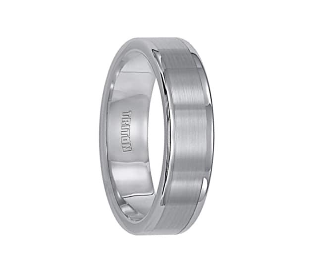 Triton Ring 6mm Tungsten Carbide Satin Finish Flat Center