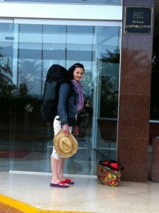 Jane with giant rucksack