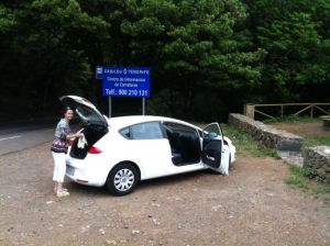 Jane with hire car in Anaga Mountains Tenerife