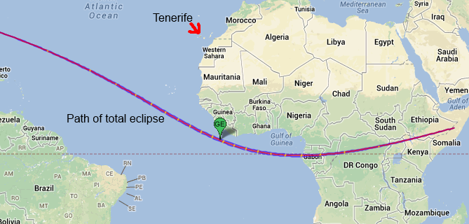 Tenerife Solar Eclipse Map