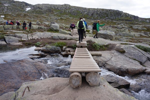 Bridges made by locals to cross the lakes
