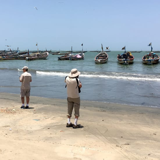 The local fisher boats in Tanje, Gambia