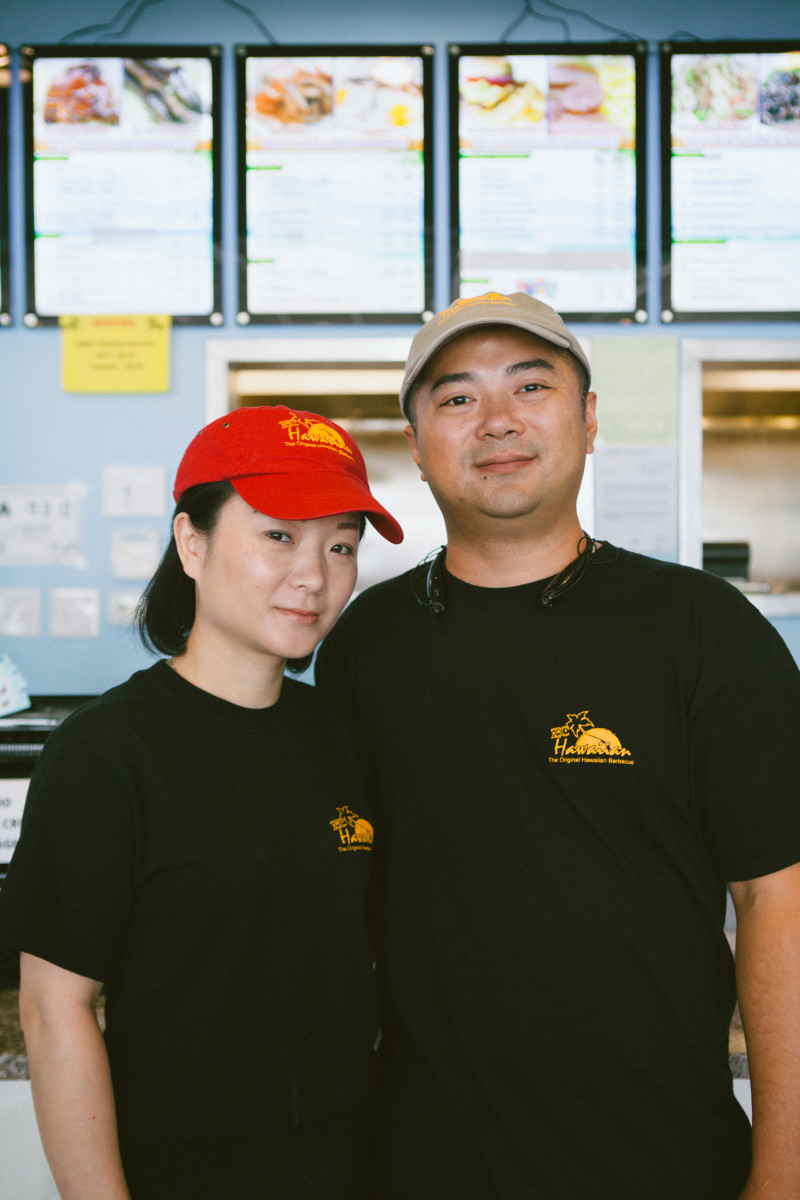 ZC Hawaiian Barbecue owner Benny Zeng with his wife, May Gao